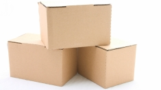 Three cardboard boxes isolated on white background.